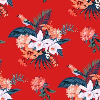 Бесшовный тропический летний образец с цветами орхидей для текстиля