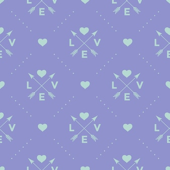 Seamless turquoise pattern with arrow, heart and word love on a violet background.
