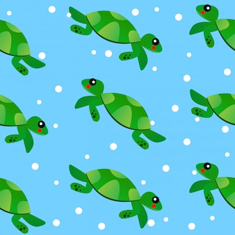 Seamless turtle baby kid cartoon pattern draw comic art vector and illustration