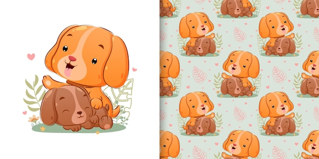 The seamless of the two puppy playing together in the yard with the happy face of illustration