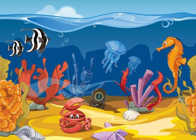 漫画スタイルのシームレスな水中風景。海と海、魚とサンゴ。ベクトルイラスト