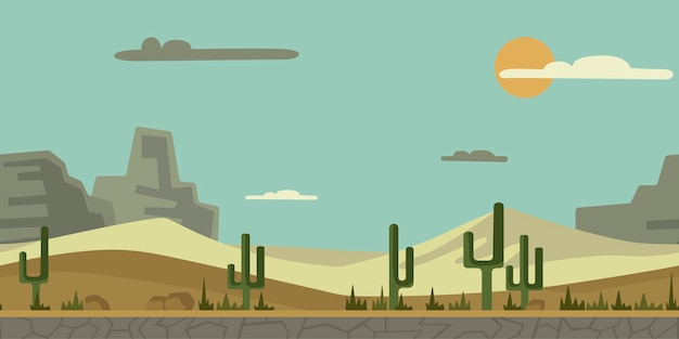 アーケードゲームまたはアニメーションのシームレスな終わりのない背景。サボテン、石、山を背景に砂漠の風景。イラスト、視差準備完了。