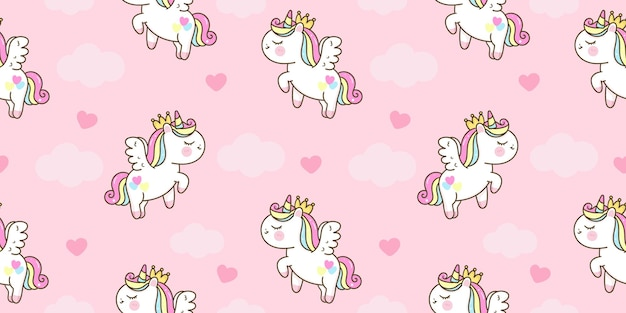 Seamless unicorn cartoon princess pegasus pony on sky kawaii animal
