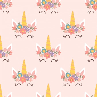 Seamless unicorn head pattern