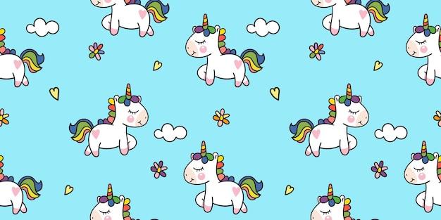 Seamless unicorn pattern cartoon with colorful flower kawaii animal