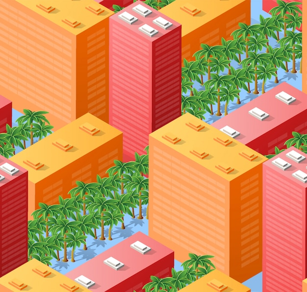Seamless urban plan map, isometric landscape
