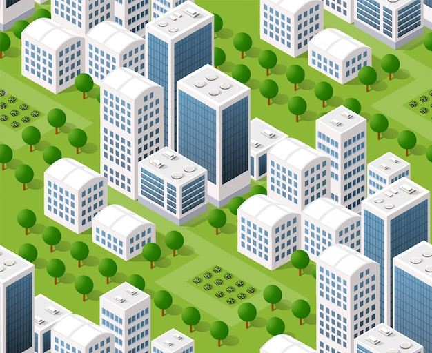 Seamless urban plan map, isometric landscape