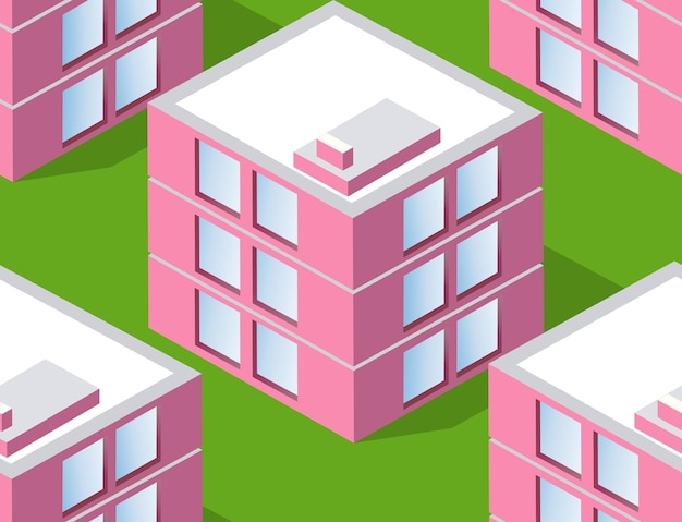 Seamless urban plan pattern map. isometric landscape structure of city buildings