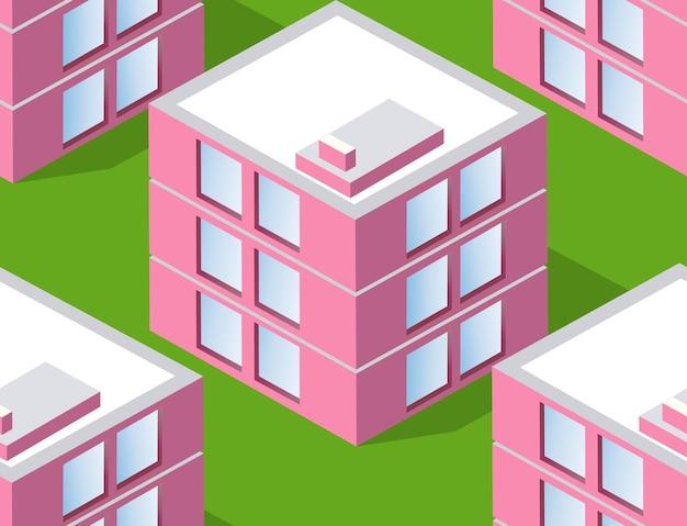 シームレスな都市計画パターン マップ。都市の建物の等尺性景観構造