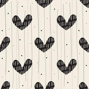 Confettiポルカドットと手描きの心とシームレスなバレンタインパターンの背景