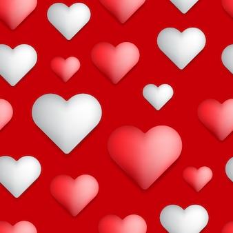 빨간색과 흰색 하트와 함께 완벽 한 발렌타인 패턴 추상적 인 배경 프리미엄 벡터