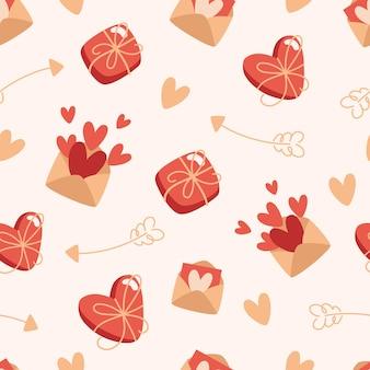 チョコレートと封筒の箱とシームレスなバレンタインデーのパターン