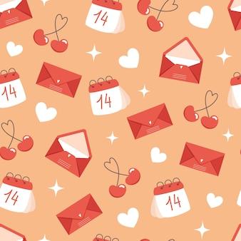 Бесшовный образец дня святого валентина с конвертами и календарем в плоском стиле