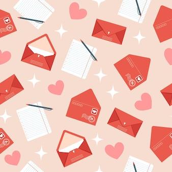 Бесшовный образец дня святого валентина с конвертами в плоском стиле