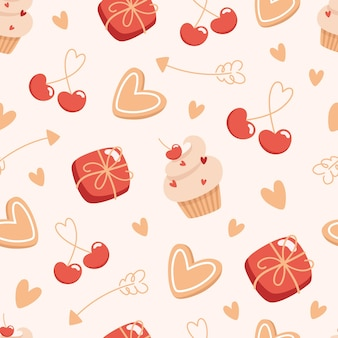 Seamless valentines day pattern with boxes of chocolates and cakes
