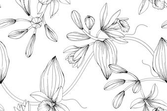Seamless Vanilla flower pattern background.