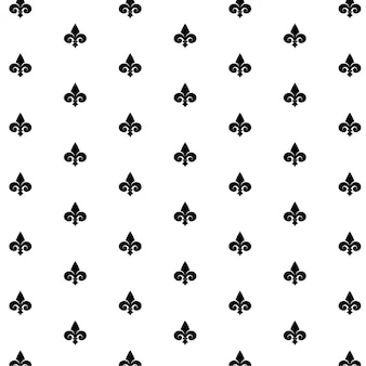 Seamless vector black pattern with fleur-de-lis on white