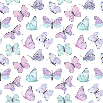 Seamless vector butterfly watercolor pattern. vintage flying insect summer background. colorful texture, wrapping paper, rustic wallpaper, nature backdrop textile