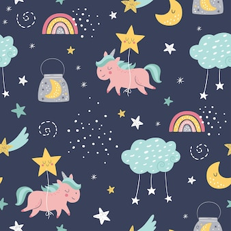 Seamless vector childish pattern with cute unicorns, clouds, moon, rainbow, stars.