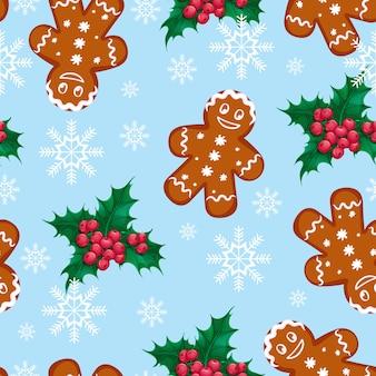 生seamless男とヒイラギの果実のシームレスなベクトルクリスマスパターン