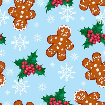 Seamless vector christmas pattern with ginger man and holly berries