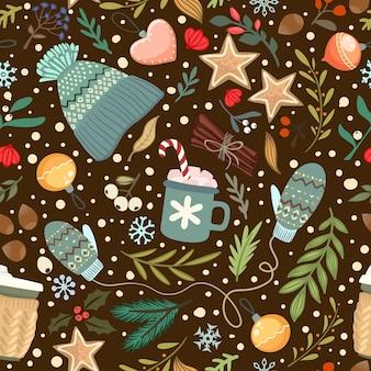 Seamless vector cozy winter pattern