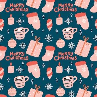 Бесшовные векторные милый образец с рождественскими украшениями от руки с рождеством христовым