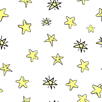 Seamless vector doodle star, for background, paper wrap, banner, curtain, etc