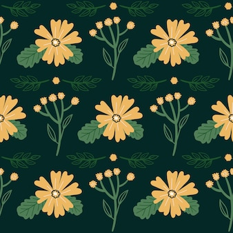 Seamless vector floral pattern doodle flowers leaves and plants botanical illustration