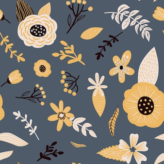 Seamless vector floral pattern doodle flowers leaves and plants