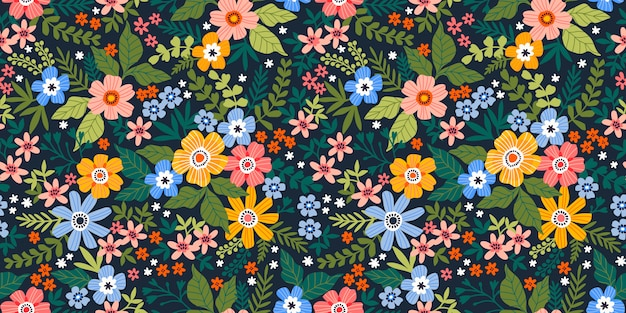 Seamless vector floral pattern. endless print made of small colorful flowers, leaves and berries.