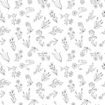 Бесшовные векторные цветочный узор, полевые цветы рисованной графические ботанические иллюстрации, эскиз каракули, изолированные на белом фоне. дизайн для ткани или упаковки