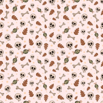 Seamless vector halloween pattern with candy