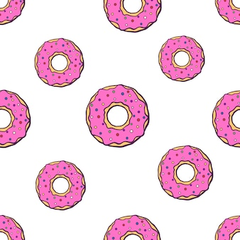 ピンクの釉薬と大小のドーナツとシームレスなベクトルイラストパターン