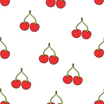 シームレスなベクトルイラスト白い背景の上の茎を持つツイン赤いサクランボのパターン