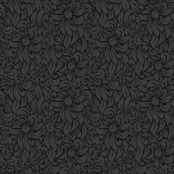 Seamless vector luxury floral background. gray on dark