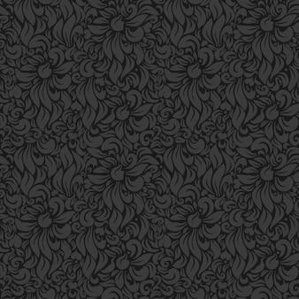Бесшовные векторные роскошный цветочный фон. серый на темном
