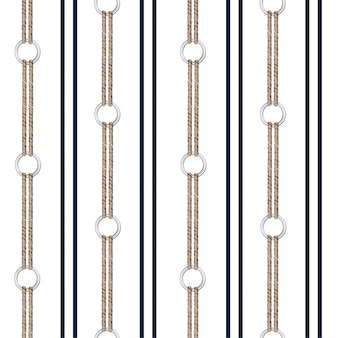 Seamless vector pattern background with hand drawn chain, and summer nautical rope in vertical stripe design