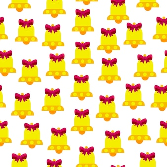 Seamless vector pattern of bells on a white background the bells are yellow with a pink bow