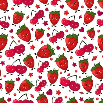 Seamless vector pattern - berry - cherry, strawberry
