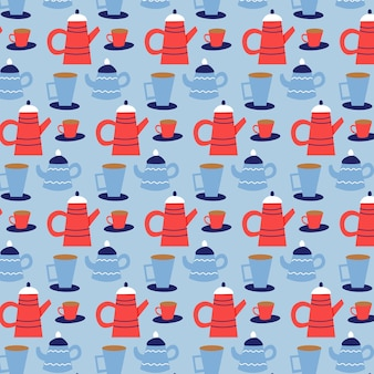 Seamless vector pattern of christmas teapots and mugs. christmas gift blue background