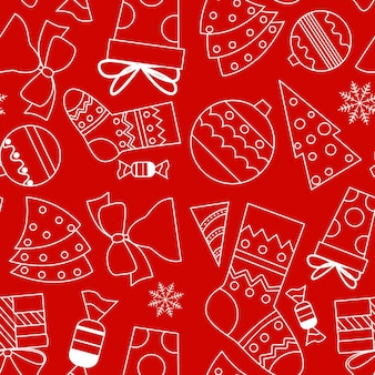 Seamless vector pattern in doodle style. white outline with christmas items on a red background.