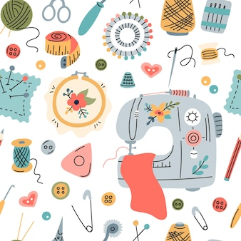 Seamless vector pattern of elements for sewing, embroidery and needlework in a flat style