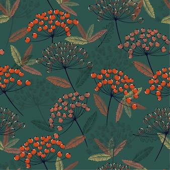 Seamless vector pattern fall/winter line orange berries