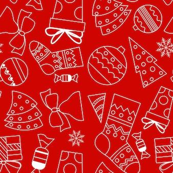 落書きスタイルのシームレスなベクトルパターン。赤い背景にクリスマスアイテムと白いアウトライン。