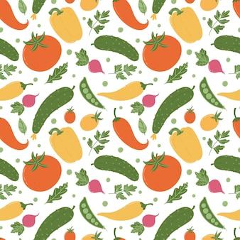 Бесшовные векторные шаблон ассорти из летних овощей в плоском мультяшном стиле