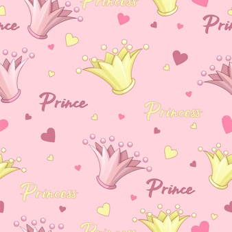 Seamless vector pattern for prince and princess. crown pink, gold