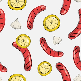 Seamless vector pattern sausage grill