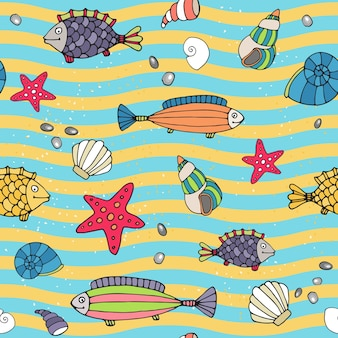 Seamless vector pattern of sea life on the seashore with wavy alternating lines of blue and yellow depicting the waves and sand with scattered shells  starfish and fish in different designs