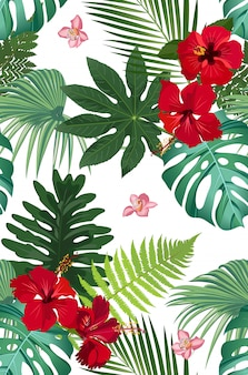 Seamless vector pattern tropical leaves with red hibiscus flower and pink orchid